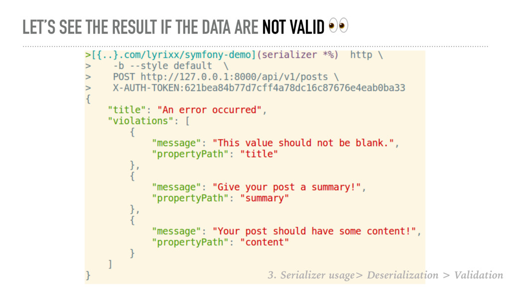 LET'S SEE THE RESULT IF THE DATA ARE NOT VALID ...
