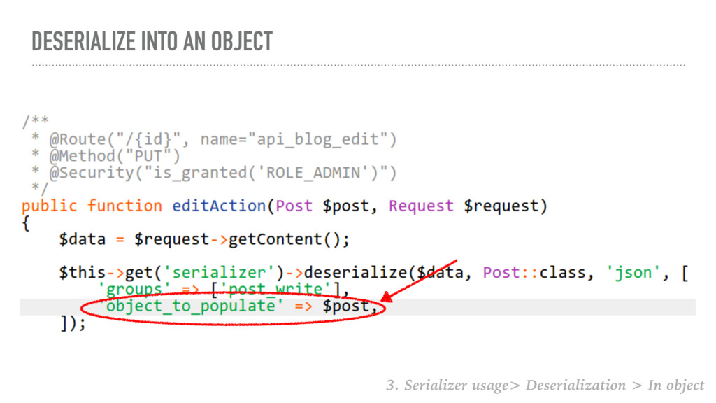 DESERIALIZE INTO AN OBJECT 3. Serializer usage>...