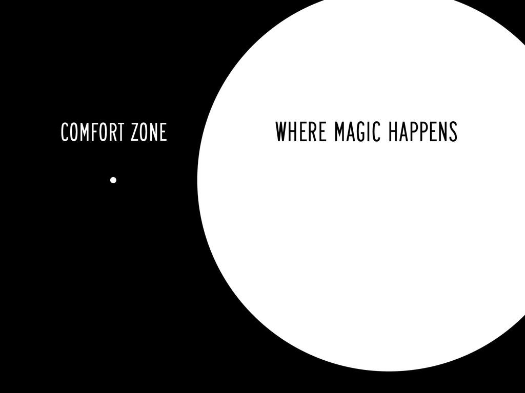 COMFORT ZONE WHERE MAGIC HAPPENS