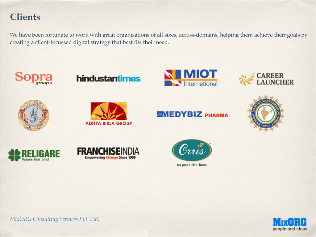 MixORG Consulting Services Pvt. Ltd. Clients We...