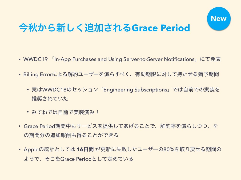 ࠓळ͔Β৽͘͠Ճ͞ΕΔGrace Period • WWDC19 ʮIn-App Purch...