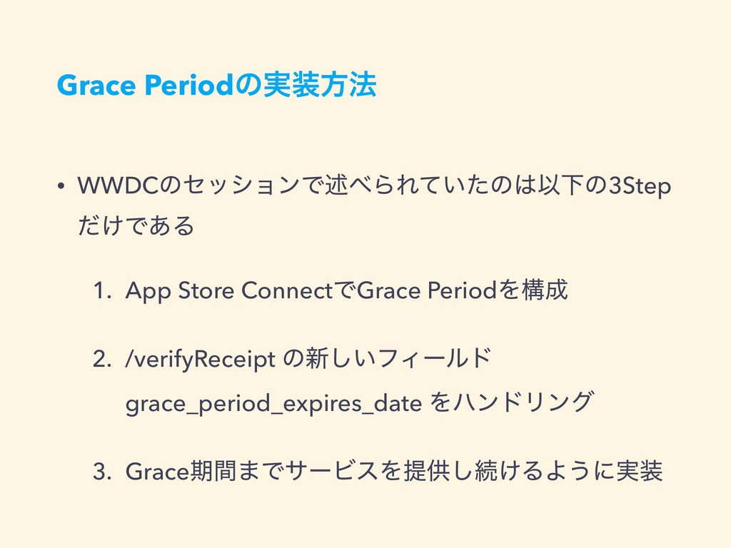 Grace Periodͷ࣮ํ๏ • WWDCͷηογϣϯͰड़ΒΕ͍ͯͨͷҎԼͷ3Ste...