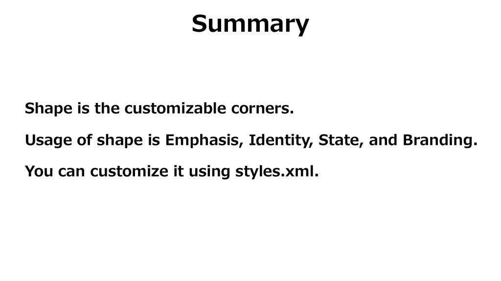 Summary Shape is the customizable corners. Usag...