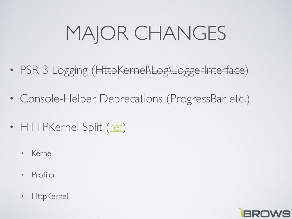 MAJOR CHANGES • PSR-3 Logging (HttpKernel\Log\L...