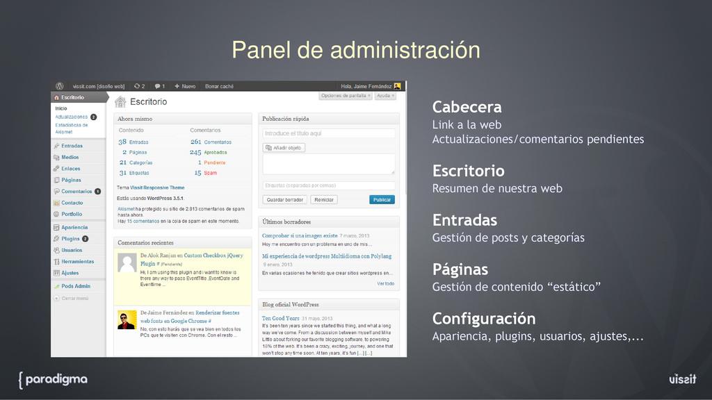 Panel de administración Cabecera Link a la web ...