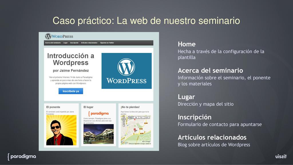 Caso práctico: La web de nuestro seminario Home...
