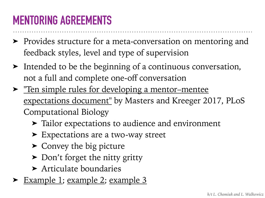 MENTORING AGREEMENTS ➤ Provides structure for a...