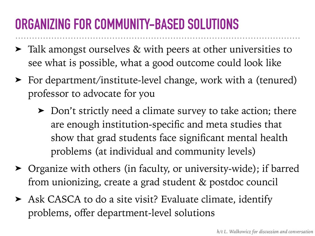 ORGANIZING FOR COMMUNITY-BASED SOLUTIONS ➤ Talk...