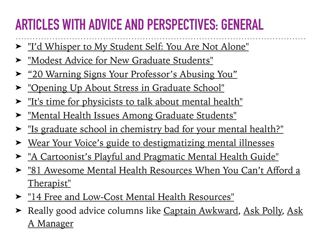 ARTICLES WITH ADVICE AND PERSPECTIVES: GENERAL ...