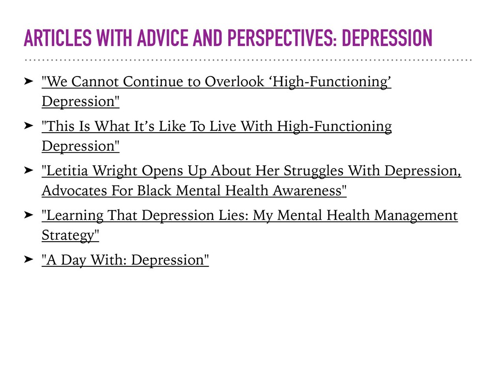 ARTICLES WITH ADVICE AND PERSPECTIVES: DEPRESSI...