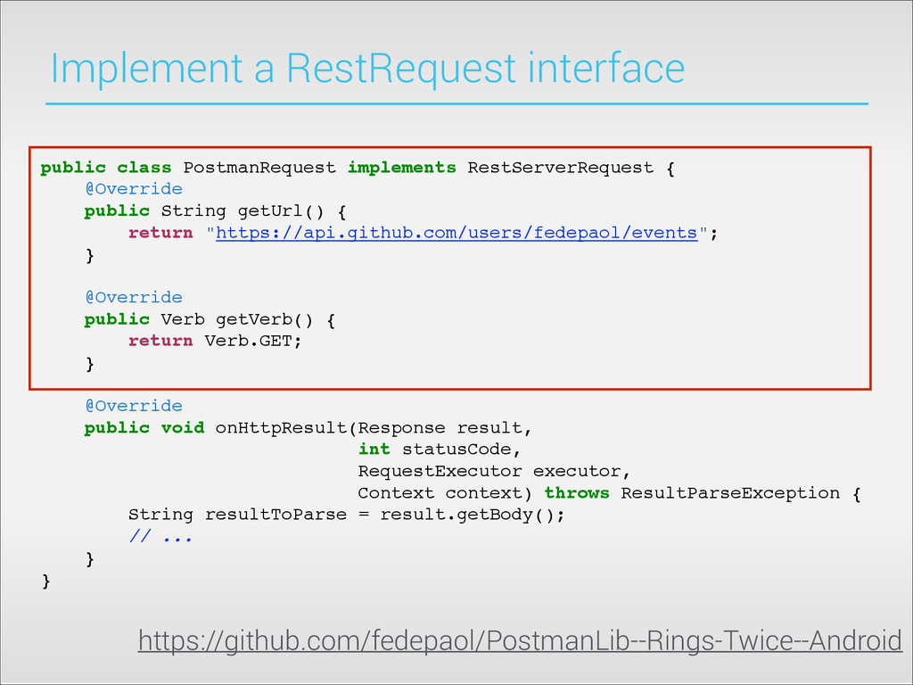 Implement a RestRequest interface public class ...
