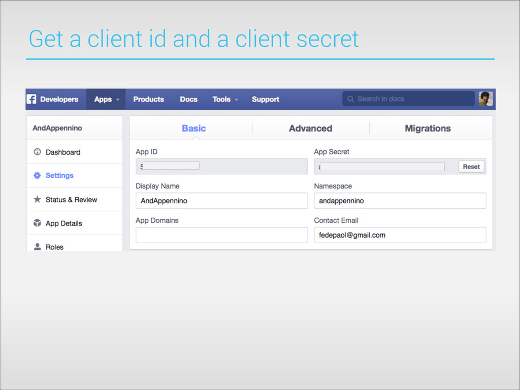 Get a client id and a client secret
