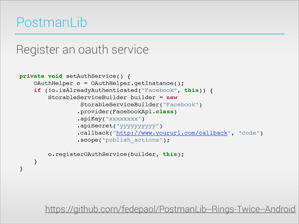 PostmanLib Register an oauth service private vo...