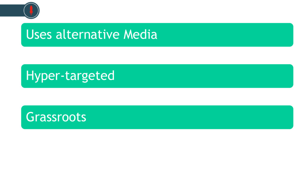 Uses alternative Media Hyper-targeted Grassroots
