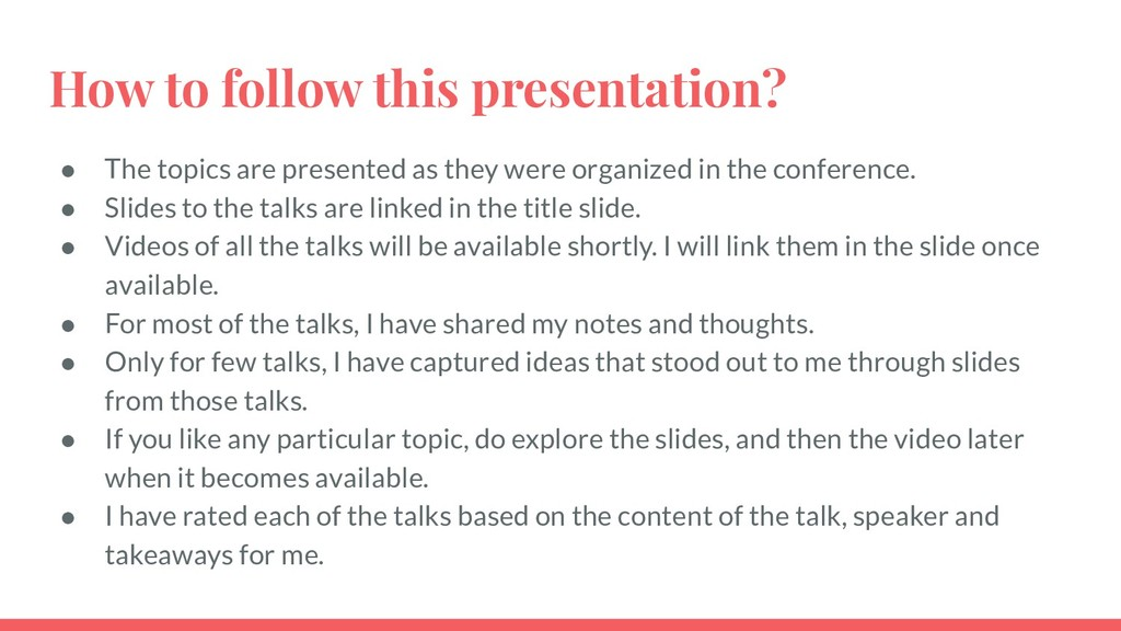 How to follow this presentation? ● The topics a...