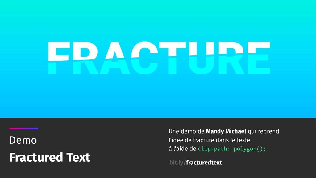 Demo Fractured Text Une démo de Mandy Michael q...