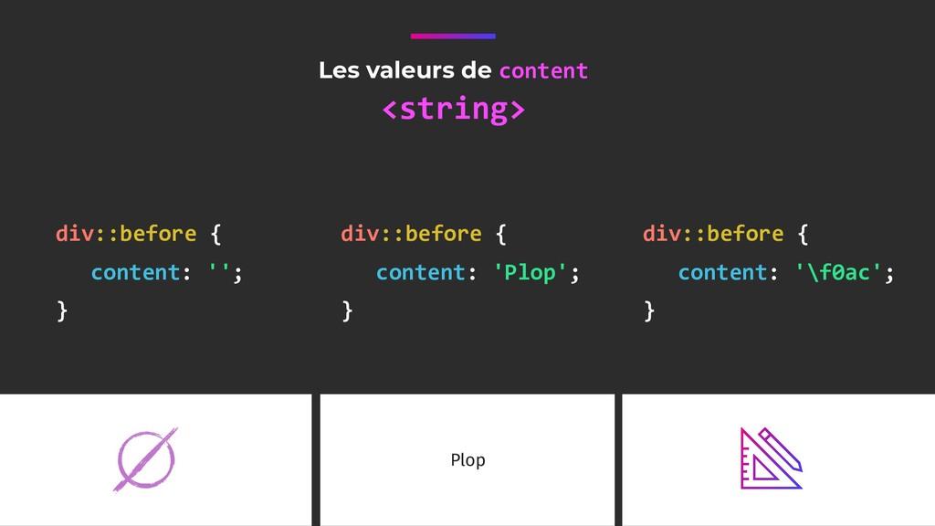 Les valeurs de content <string> div::before { c...