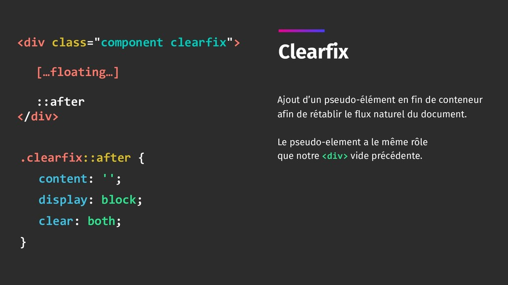 Clearfix Ajout d'un pseudo-élément en fin de co...