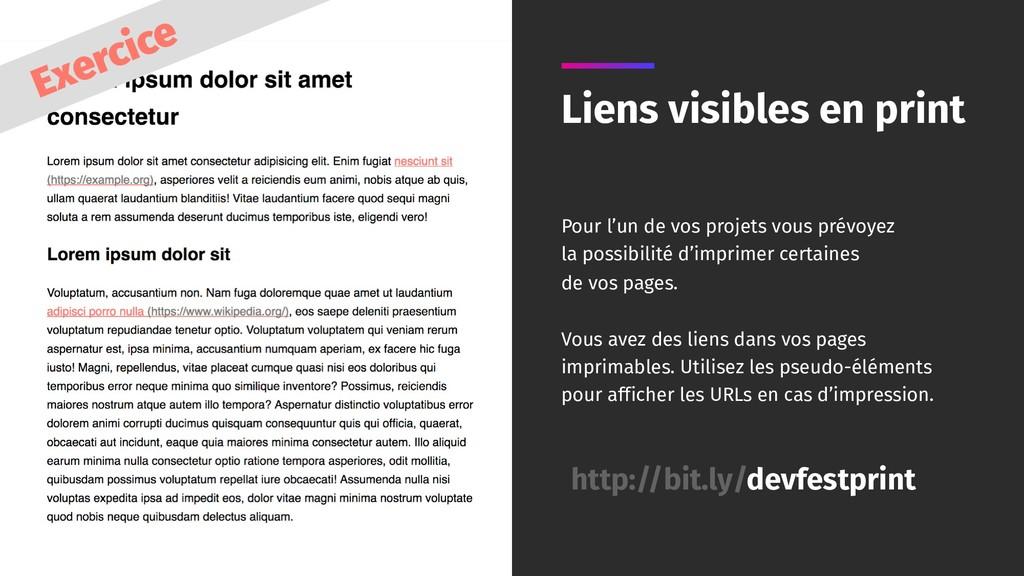 Liens visibles en print Pour l'un de vos projet...