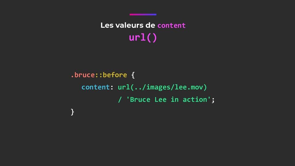Les valeurs de content url() .bruce::before { c...