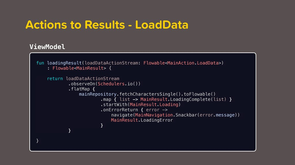 Actions to Results - LoadData fun loadingResult...