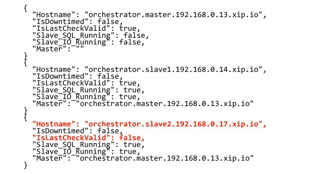 """{ """"Hostname"""": """"orchestrator.master.192.168.0.13..."""