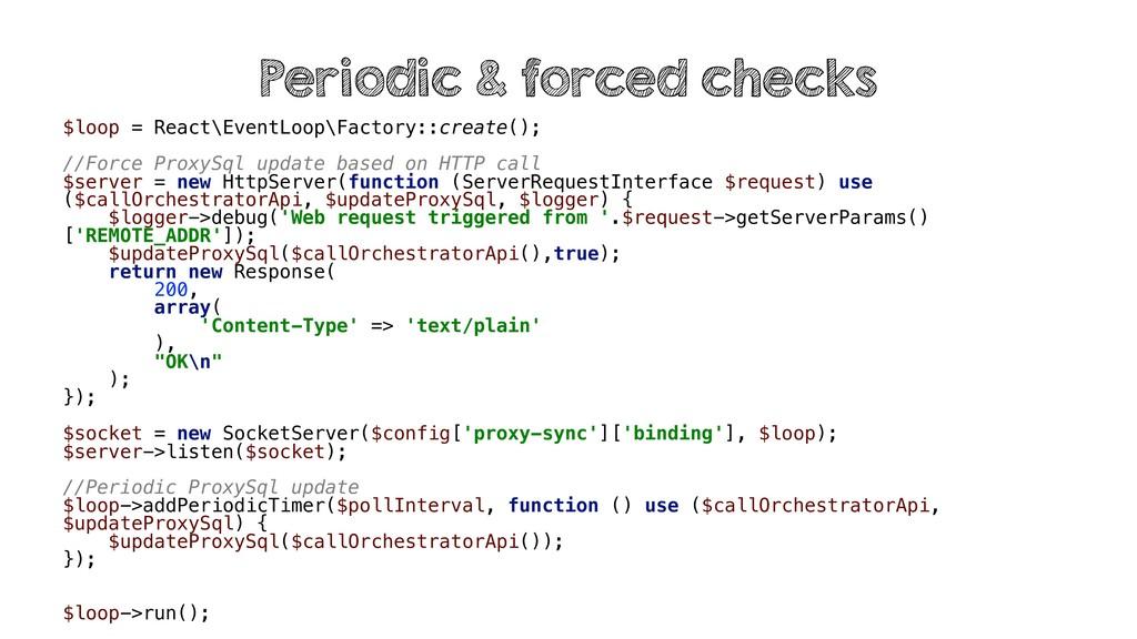 $loop = React\EventLoop\Factory::create(); //Fo...