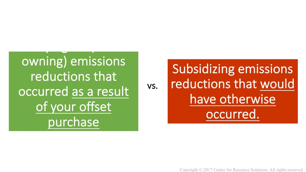 vs. Paying for (and owning) emissions reduction...