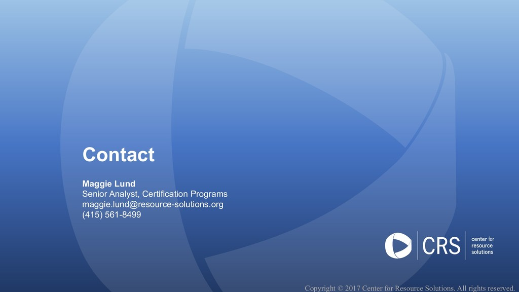 Contact Maggie Lund Senior Analyst, Certificati...