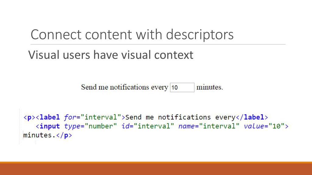 Connect content with descriptors Visual users h...
