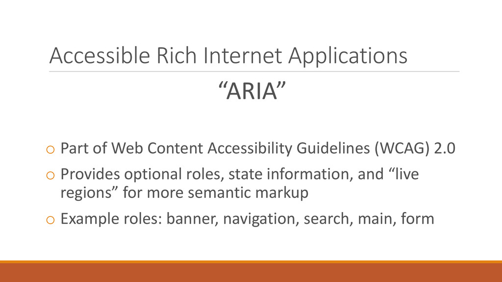 """Accessible Rich Internet Applications """"ARIA"""" o ..."""