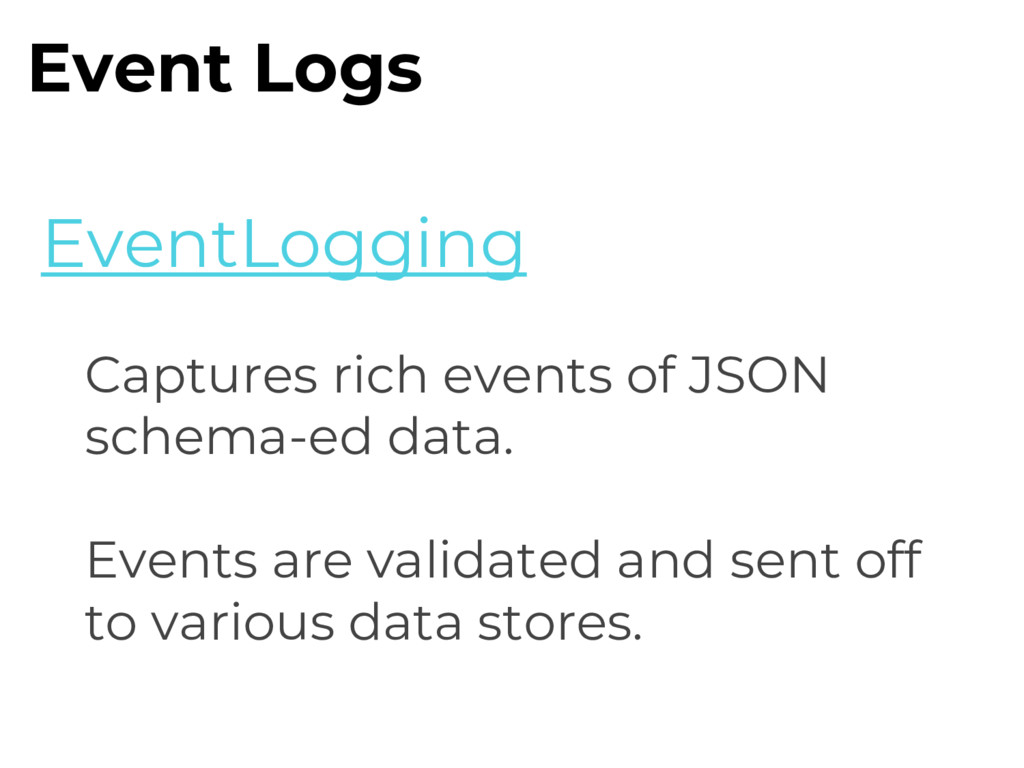 Captures rich events of JSON schema-ed data. Ev...