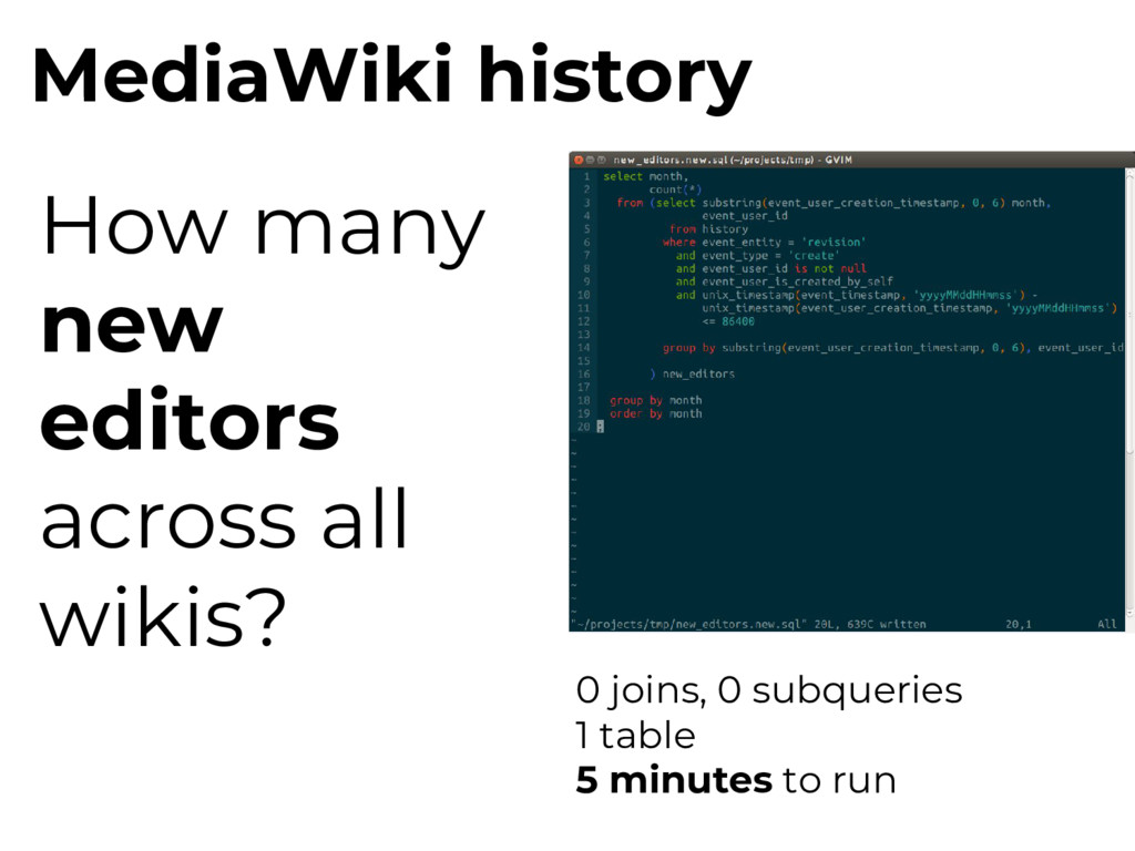 MediaWiki history How many new editors across a...