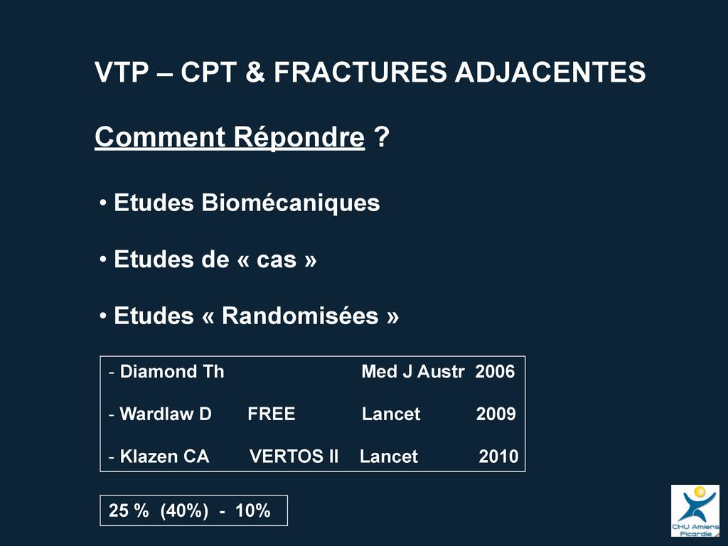 VTP – CPT & FRACTURES ADJACENTES Comment Répond...