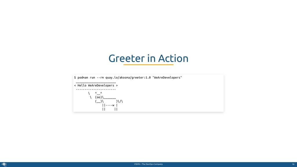VSHN – The DevOps Company Greeter in Action $ p...