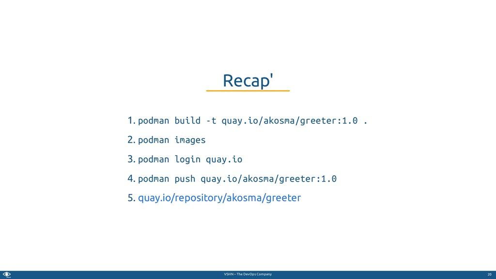 VSHN – The DevOps Company 1. podman build -t qu...