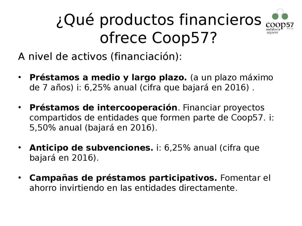 ¿Qué productos financieros ofrece Coop57? A niv...