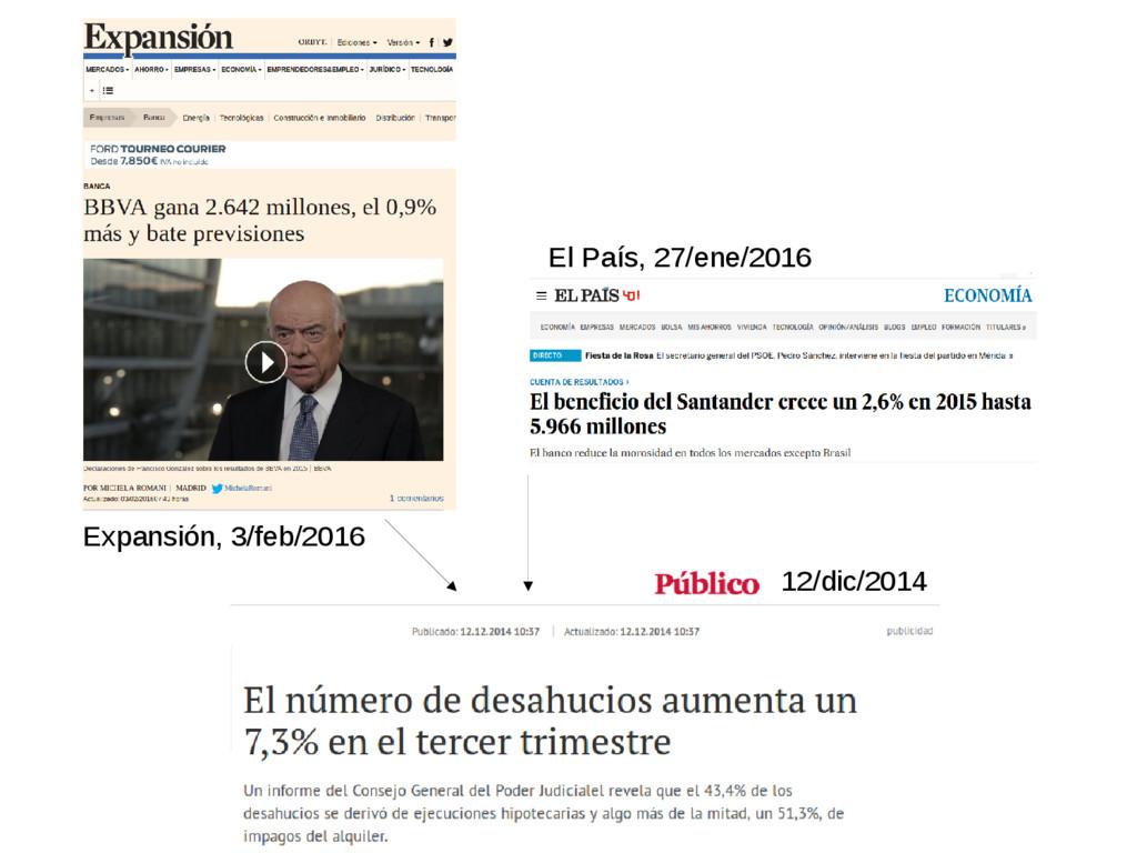 Expansión, 3/feb/2016 El País, 27/ene/2016 12/d...