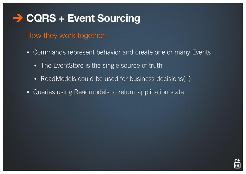CQRS + Event Sourcing • Commands represent beha...