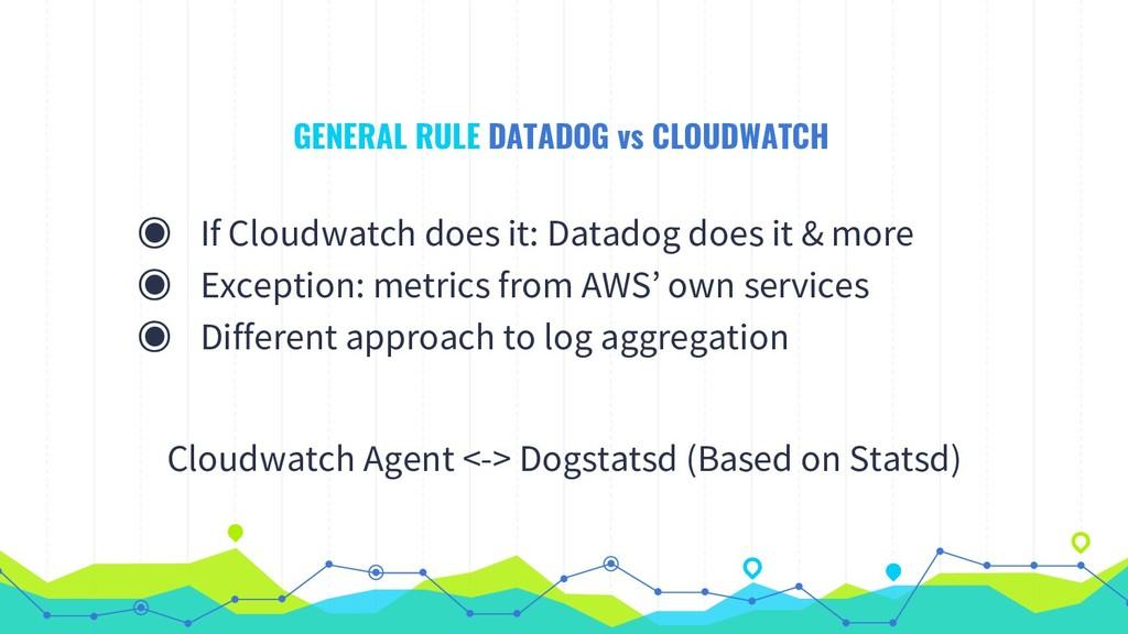 GENERAL RULE DATADOG vs CLOUDWATCH ◉ If Cloudwa...