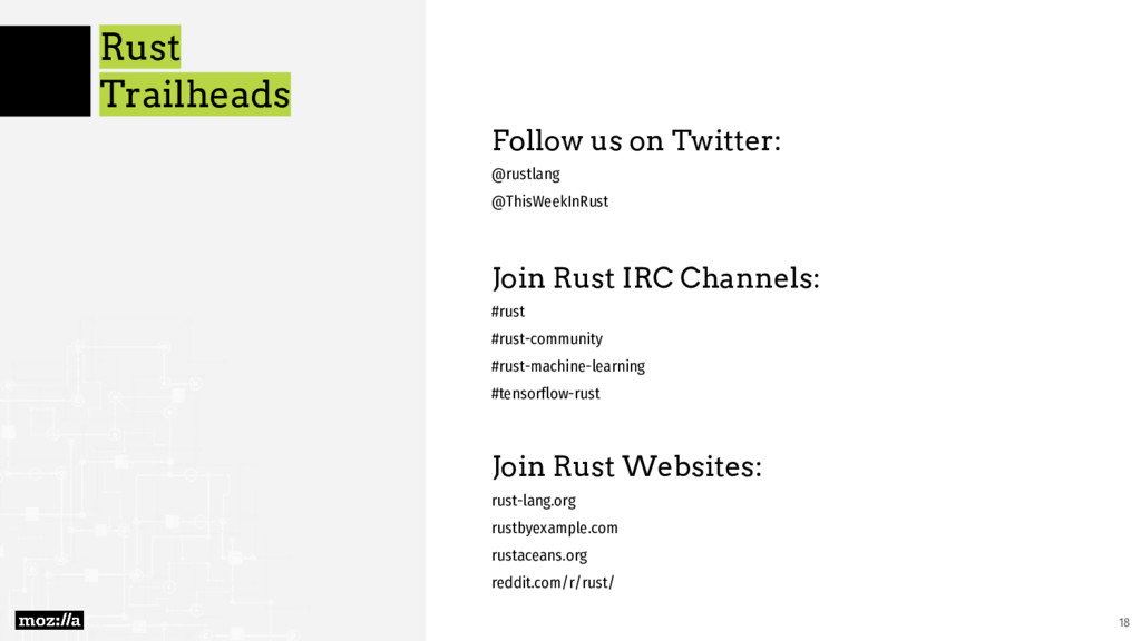 Rust Trailheads Follow us on Twitter: @rustlang...