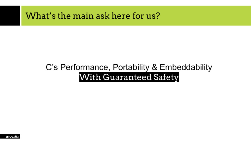 What's the main ask here for us? C's Performanc...