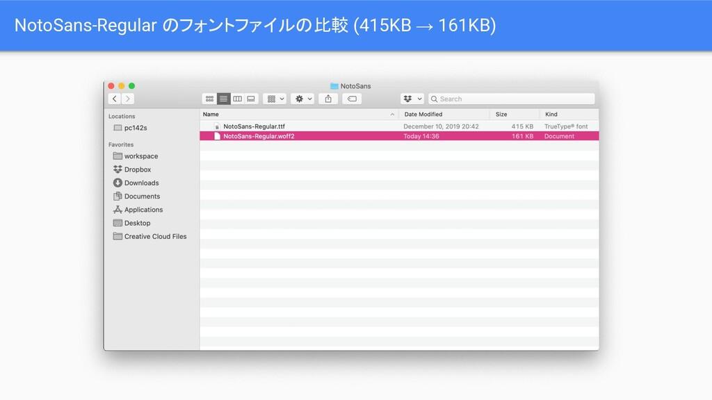 NotoSans-Regular のフォントファイルの比較 (415KB → 161KB)