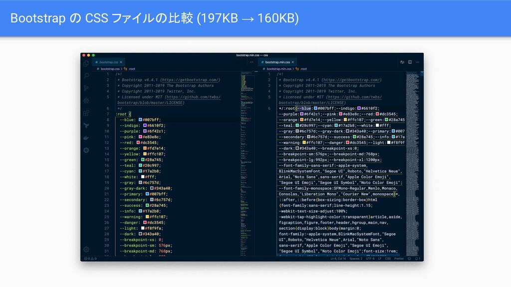 Bootstrap の CSS ファイルの比較 (197KB → 160KB)