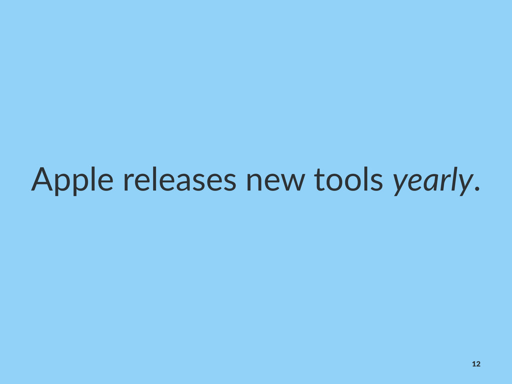 Apple%releases%new%tools%yearly. 12