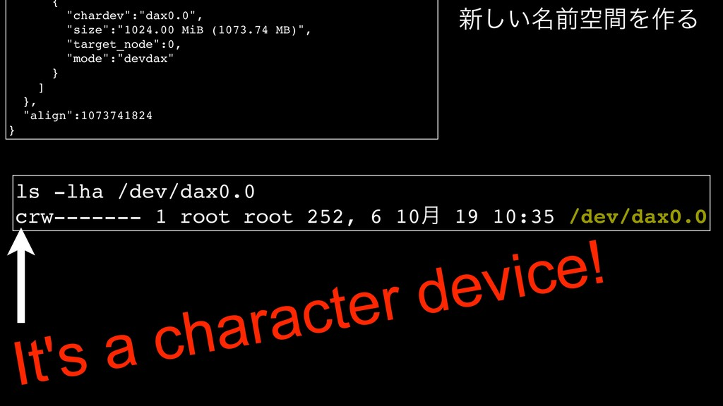 """{ """"chardev"""":""""dax0.0"""", """"size"""":""""1024.00 MiB (1073..."""