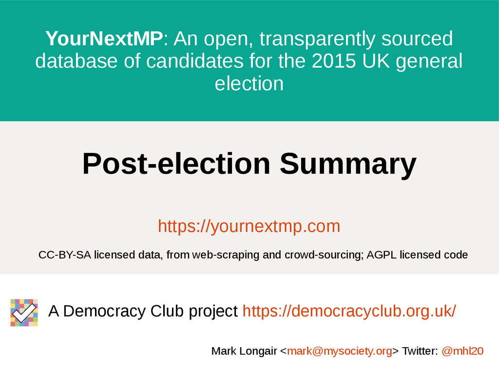 YourNextMP: An open, transparently sourced data...