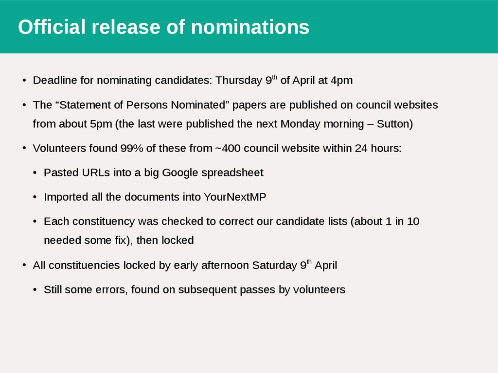 Official release of nominations ● Deadline for ...