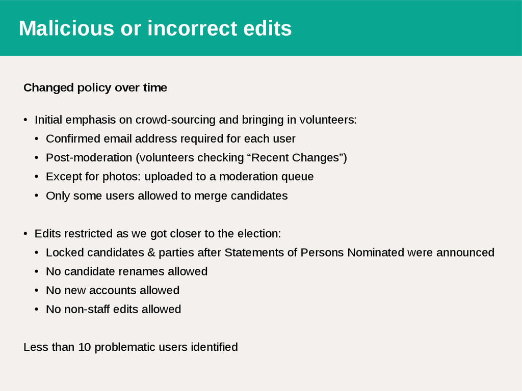 Malicious or incorrect edits Changed policy ove...