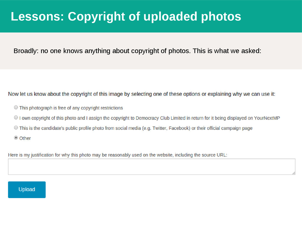 Lessons: Copyright of uploaded photos Broadly: ...